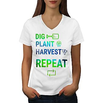 Farmer Life Work Women WhiteV-Neck T-shirt | Wellcoda