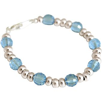 Gemshine armband Aquamarine gjord med SWAROVSKI ELEMENTS silver, guldpläterad, ros
