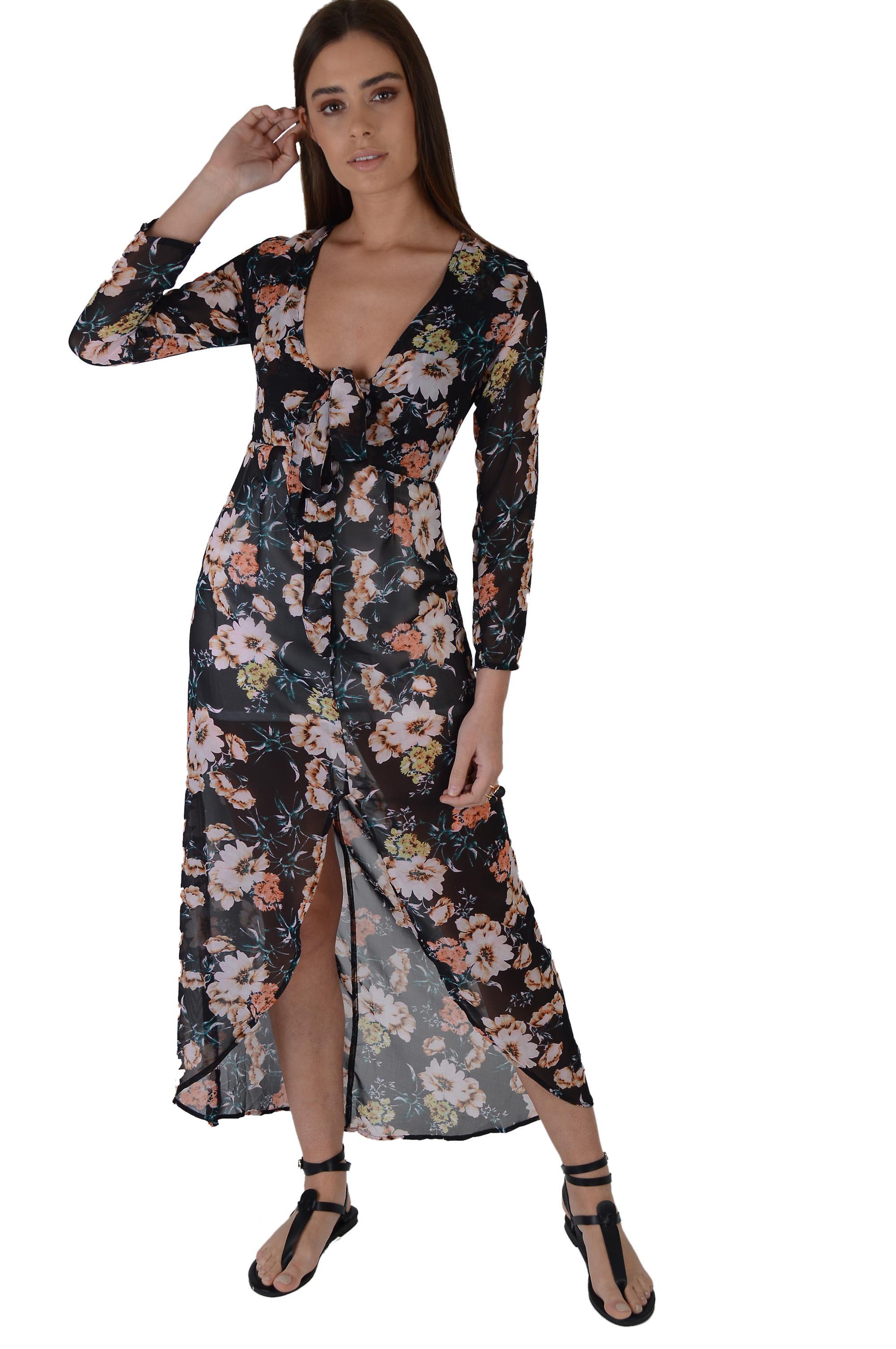 LMS Black Floral Maxi With Plunge Tie Neckline And Split Hem - SAMPLE