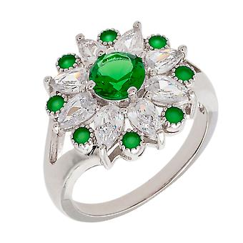 Bertha Juliet Collection Women's 18k WG Plated Green Floral Statement Fashion Ring Size 9