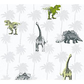 Kids dinosaure Wallpaper Childrens Bedroom Dinos gris blanc vert coller au mur