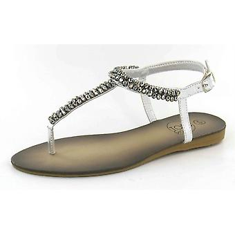 Spot On Flat Beaded Toepost / Ankle Strap Sandals