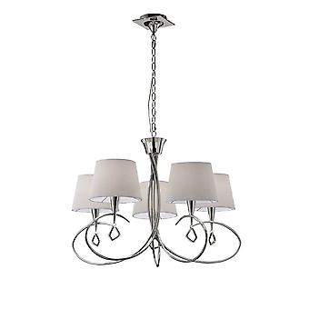 Mantra Mara Pendant 5 Light E14, Polished Chrome With Ivory White Shades