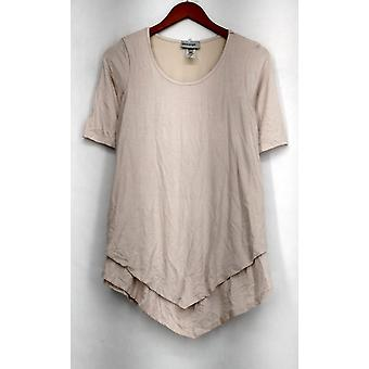 Glitterscape Top Tiered Hem Necklace Tunic Solid Beige Womens A432543