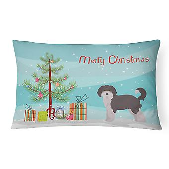 Aussiedoodle #1 Christmas Tree Canvas Fabric Decorative Pillow