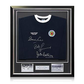 Scotland Shirt Signed by Denis Law, Bobby Lennox And Jim McCalliog. Deluxe Frame