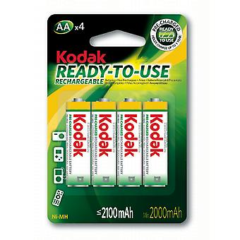4x Kodak rechargeable AA battery NiMH  2100 mAh batteries