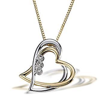 Goldmaid Necklace with Women's Pendant - Gold Bicolor 14 K - Diamond - Round - 45 Cm