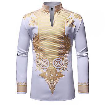 Allthemen miesten ' s painettu Jalusta kaulus syksy & kevät rento pitkät hihat Pullover paita