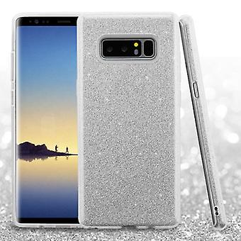 ASMYNA Silver Full Glitter Hybrid Case for Galaxy Note 8