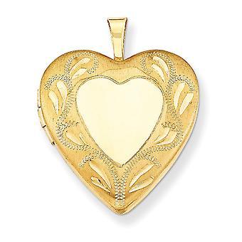 14k gult gull fylt mønstret laser kuttet graverbare holder 2 bilder polert og sateng 2 ramme kjærlighet hjerte locket juveler