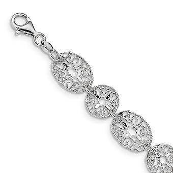 925 Sterling Silver Textured Fancy Lobster Closure Rhodium Polished Circles Bracelet 8.25 Inch Jewelry Gifts for Women