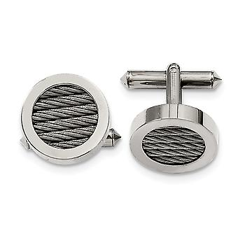 Titanium Brushed Polished and Steel Wire Cuff Links Jewelry Gifts for Men