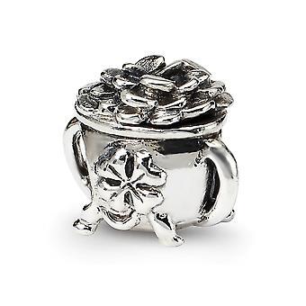 925 Sterling Silber poliert Finish Reflexionen Topf aus Gold Perle Anhänger Anhänger Halskette Schmuck Geschenke für Frauen