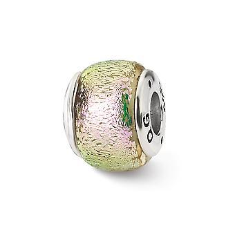 925 Sterling Silber Reflexionen rosa dichroitischen Glasperle Anhänger Anhänger Halskette Schmuck Geschenke für Frauen