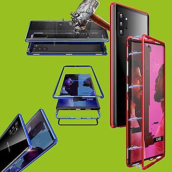 Für Samsung Galaxy Note 10 N970F Magnet / Metall / Glas Case Bumper Rot / Transparent Tasche Hülle Neu