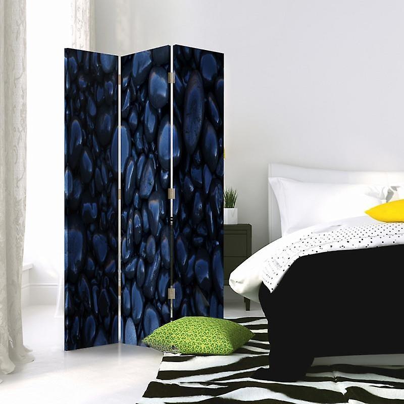 Diviseur de chambre, 3 panneaux, à un seul côté, toile, pierres noires