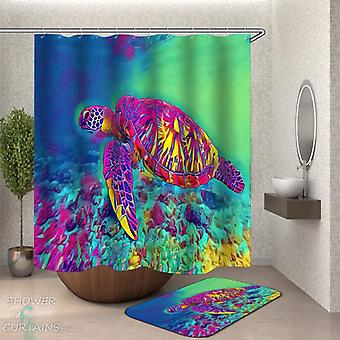 Psychedelic Colored Turtle Shower Curtain
