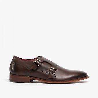 Baza Londra Montaj Mens piele Monk curea Pantofi spălate Maro