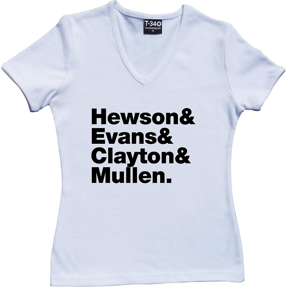 U2 Line-Up V-Neck White Women-apos;s T-Shirt
