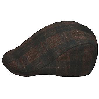 Mens Unisex Adult Quality Wool Mix Plaid Check Fashion Flat Cap
