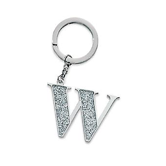 Silver Options Silver Plated Letter W Glitter Keyring