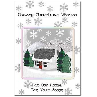 Brodert Originals vinter hytte julekort