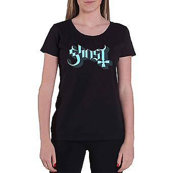 Ghost Blue Keyline Logo Official Womens Skinny Fit  T Shirt