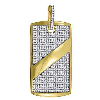 10kゴールドツートーンCZキュービックジルコニアシミュレートダイヤモンドメンズ高さ56.3mm X幅27.3mmアニマルペットドッグタグチャームペンダント