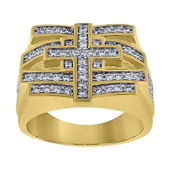 925 Sterling Silver Mens Two tone CZ Cubic Zirconia Simulated Diamond Cross 7.5mm Religious Band Ring Jewelry Gifts for