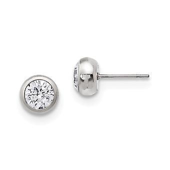 Acier inoxydable poli 6mm Bezel CZ Cubic Zirconia Simulated Diamond Stud Post Boucles d'oreilles Bijoux Bijoux pour les femmes