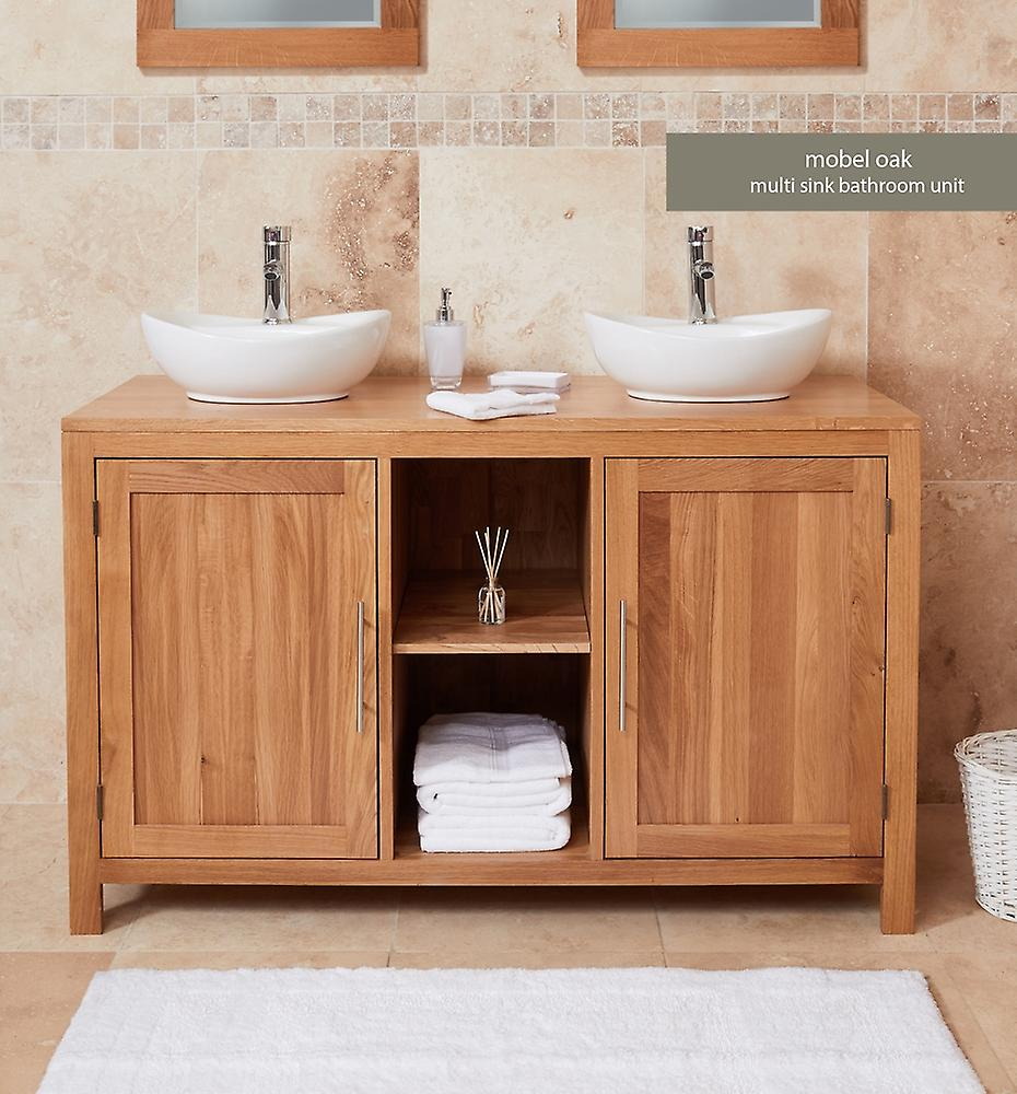 Baumhaus Mobel Oak Bathroom Collection Solid Oak Dual Sink Unit With Two Doors