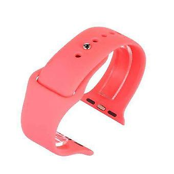 Watch strap made by w&cp to fit apple iwatch watch strap pink silicone rubber 38mm and 42mm