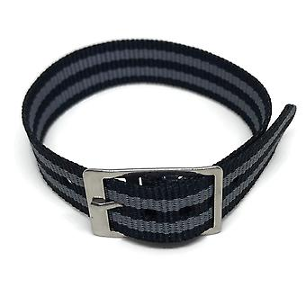 Nylon watch strap 2 stripe black and grey with stainless steel buckle 14mm to 20mm