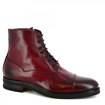 Leonardo Shoes Men's handmade lace-ups ankle boots in burgundy calf leather