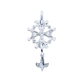 Huguenote Cross pendant gold 750/1000 white (18K)