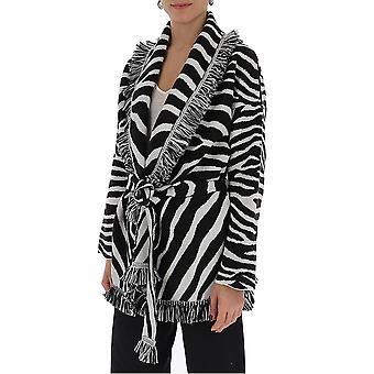 Alanui Lwhb019s20kni0030110 Donne's Bianco/nero Cotton Cardigan