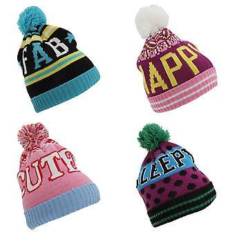 Childrens Girls Slogan Design Winter Bobble Hat
