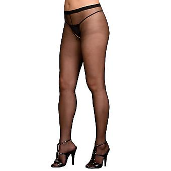 Plus Size Hosiery Lingerie Sexy Sheer Crotchless Pantyhose