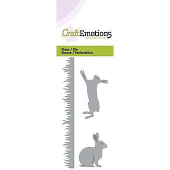 CraftEmotions Sterben - Gras, Kaninchen, Hase Karte 5x10cm