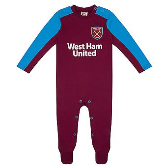 West Ham United FC Officiel Football Gift Home Kit Baby Sleepsuit