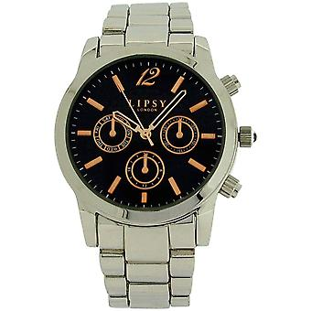 Lipsy Womens Chrono Effect Silver Tone Metal Strap Black Dial Watch LP262