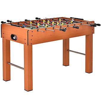 HOMCOM 4FT Football Table 11-Aside w/ Stainless Steel Rods Yellow Red Players Soft Grip Handles Scoreboard 2 Balls 4 Thick Legs Anti-Slip Pads Home Family Fun Playtime Pub Arcade