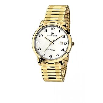 Accurist Mens Round White Dial Gold Expanding Bracelet Watch 7081