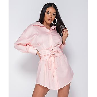 Long Sleeve Shirt Dress With Belt - Pink