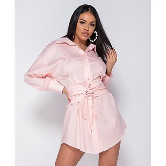 Long Sleeve Shirt Dress With Belt - Ladies - Pink