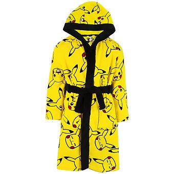 Pokemon Dressing Gown Pikachu Yellow Kids Pocket Bathrobe