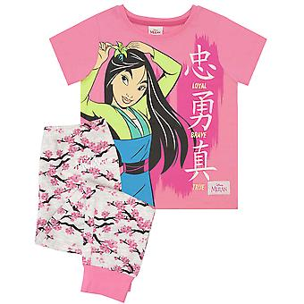 Disney Mulan Loyal Brave True Girl&s Pink Long Pyjamas hálóruha szett