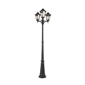 QAZQA Classic Pole with 3 Lantern Heads Black IP44 - New Orleans 3