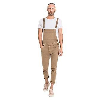 Theo mens slim fit dungarees with detachable bib - brown